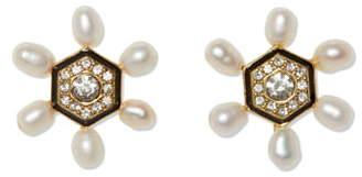 Vince Camuto Freshwater Pearl & Crystal Flower Earrings