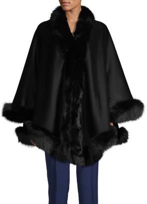 Belle Fare Fox Fur-Trim Cashmere Wool Cape