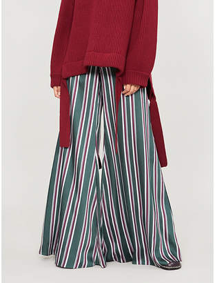 Alexis Nieves striped high-rise wide-leg satin trousers