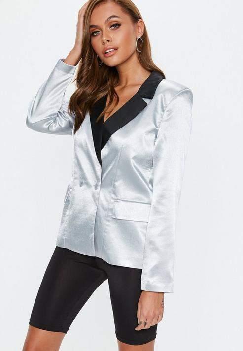 Silver Satin Tailored Button Blazer, Silver