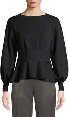Agnona Full-Sleeve Peplum Merino Knit Top