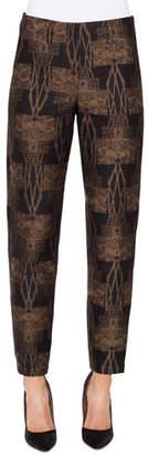 Akris Metallic Fruit of Vienna Jacquard Conical-Leg Pants