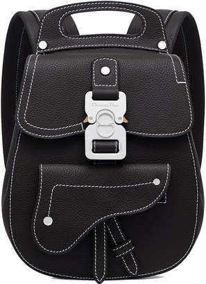 Christian Dior Saddle Detail Backpack Grained Calfskin Small Black
