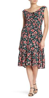 Heartloom Camila Floral Tie Keyhole Midi Dress