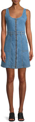 7 For All Mankind Zip-Front Denim Mini Dress