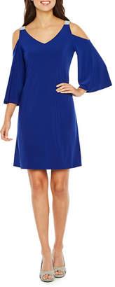 MSK 3/4 Sleeve Cold Shoulder Party Dress