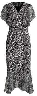 Michael Kors Scribble Print Draped Wrap Dress& Belt