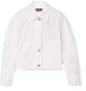 Isabel Marant Rena Broderie Anglaise Denim Jacket - White
