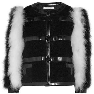 Philosophy di Lorenzo Serafini Feather And Faux Leather-trimmed Mohair-blend Bouclé Jacket - Black