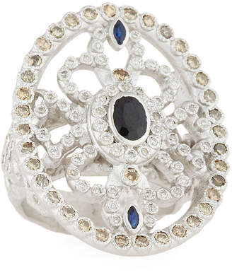 Armenta New World Sapphire Oval Shield Ring w/ Diamonds, Size 7