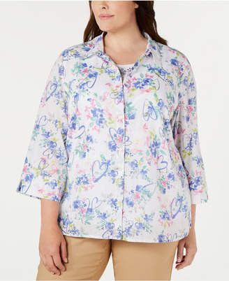 Alfred Dunner Plus Size The Summer Wind Printed Blouse