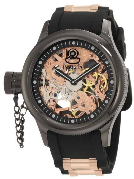 Invicta 1847 Russian Diver Skeleton Dial Polyurethane Strap Men