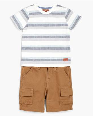 7 For All Mankind Kids Boys 2T-4T Crew Neck Tee Cargo In Deep Well