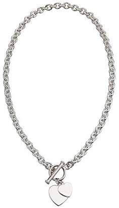 Camilla And Marc Elements Silver 925 Ladies' Silver Heart Tag T-Bar Sterling Silver Necklace 41 cm