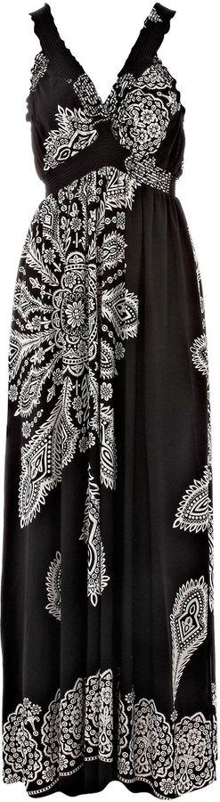 Black print maxi dress