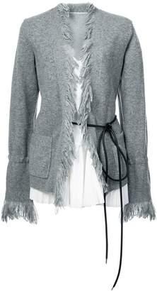 Sacai belted frayed cardigan