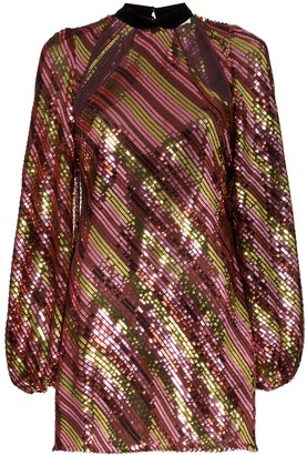 Rixo Harriet cut-out neck sequinned mini-dress