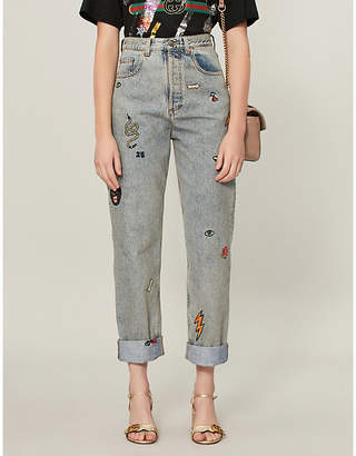 Gucci Embroidered 80s fit mid-rise jeans
