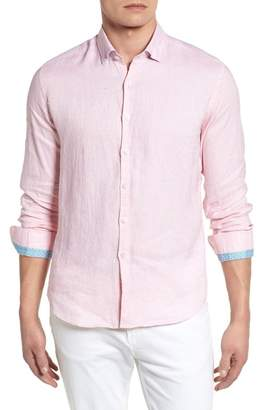 Stone Rose Linen Blend Slim Sport Shirt