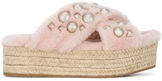 Miu Miu Pink Shearling Pearl 45 flatform Sandals