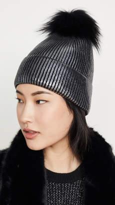 Jocelyn Metallic Hat With Silver Fox Pom