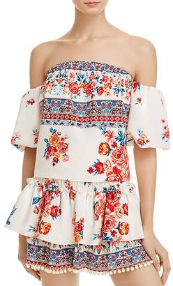 MISA Los Angeles Renata Floral Print Off-The-Shoulder Top $203 thestylecure.com