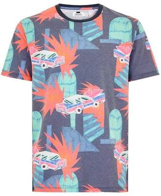 Topman Mens Navy Cars Print T-Shirt