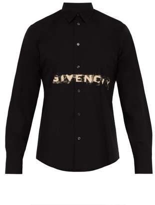 Givenchy Faded Logo Print Cotton Shirt - Mens - Black