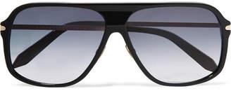 Victoria Beckham D-frame Acetate And Gold-tone Sunglasses - Black