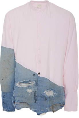 Greg Lauren Paneled Cotton Shirt