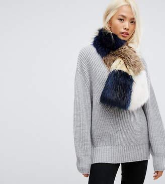 Stitch & Pieces Faux Fur Patchwork Scarf