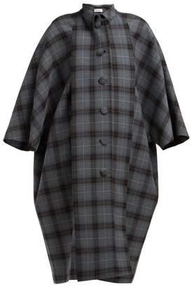 5509aeea7fe6 Balenciaga Cristobal Oversized Wool Blend Check Coat - Womens - Grey Multi