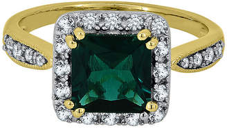 FINE JEWELRY Lab-Created Emerald & White Sapphire 14K Yellow Gold over Silver Ring