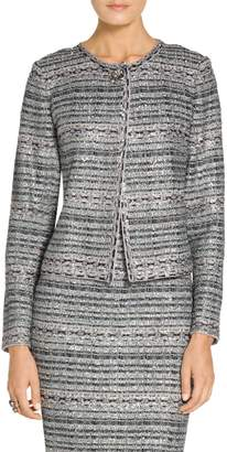 St. John Lacquered Metallic Ribbon Knit Jacket