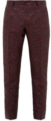 Swirling Brocade Twill Tuxedo Trousers - Mens - Burgundy