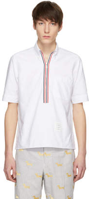 Thom Browne White Zip-Up Pullover Shirt