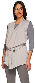 Halston H by Draped Open Front Sweater Vest w/Faux Suede Belt
