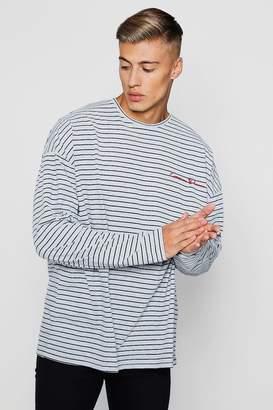 boohoo Oversized Stripe Long Sleeve Slogan T-Shirt