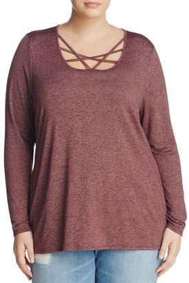 Andrew Marc Plus Marled Strappy-Neck Top