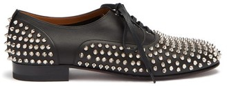 Christian Louboutin Freddy Spike Embellished Leather Oxford Shoes - Mens - Black