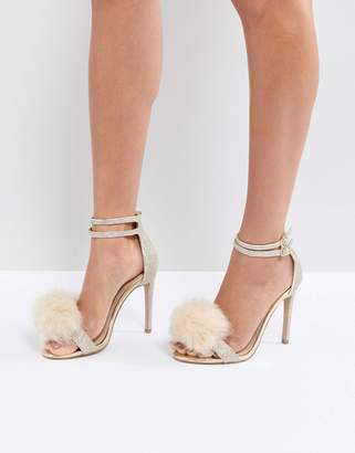 Carvela Glenn Gold Faux Fur Pom Heeled Sandals