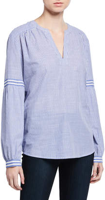 Vince Camuto Long-Sleeve Mix Stripe Peasant Blouse