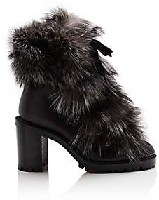 Christian Louboutin Women's Fanny Leather & Fur Ankle Boots - Version Black, Multi