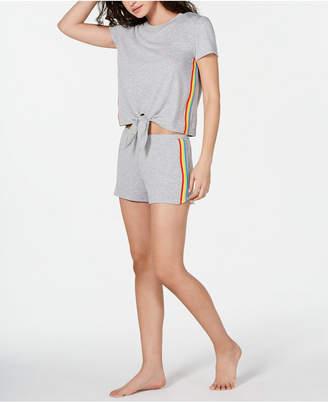 INC International Concepts Inc Super Soft Rainbow Tie-Front Top and Shorts Pajama Set