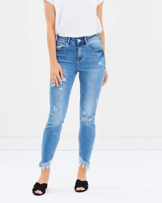 DECJUBA Collins Asymmetric Fray Jeans