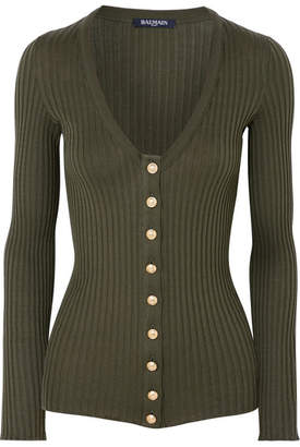 Balmain Ribbed Cotton Top - Army green