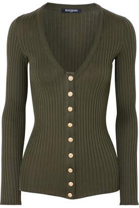 Balmain Ribbed Cotton Top - Army green