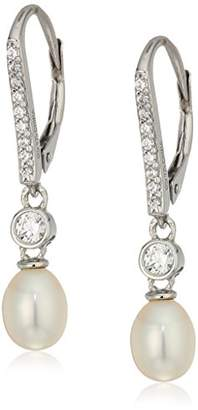 Swarovski Platinum Plated Sterling Silver Zirconia Oval Cultured Freshwater Pearl Dangle Earrings