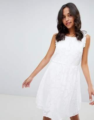 Vila Jacquard Floral Ruffle Dress