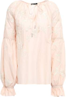 Love Sam Embroidered Cotton And Silk-blend Blouse